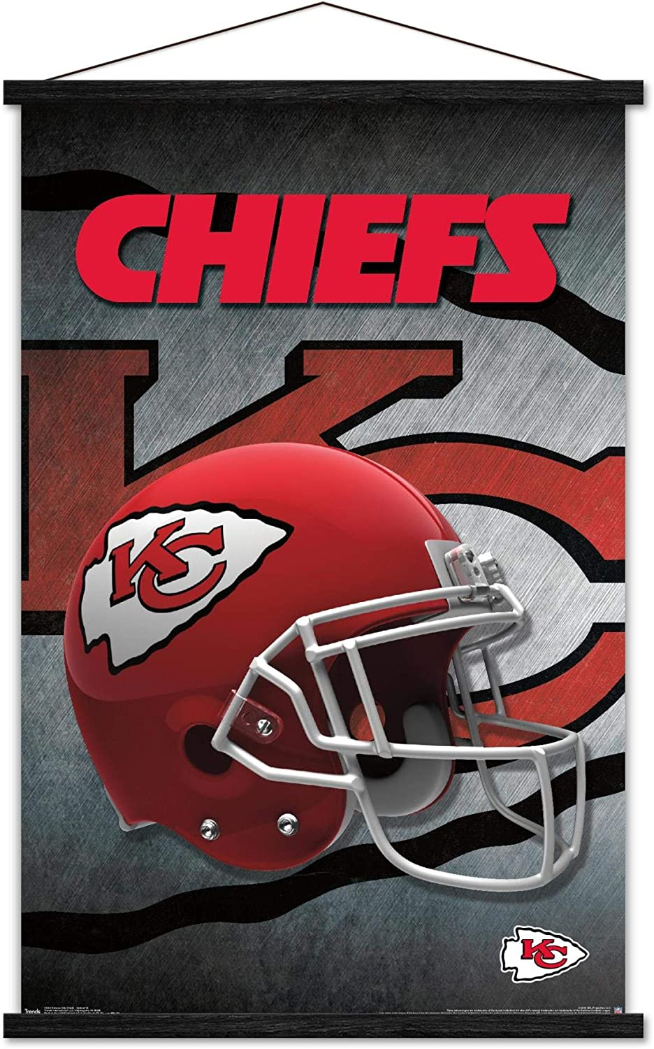 """Trends International NFL Kansas City Chiefs - Helmet 16 Wall Poster with Wooden Magnetic Frame, 22.375"""" x 34"""", Print and Black Hanger Bundle"""