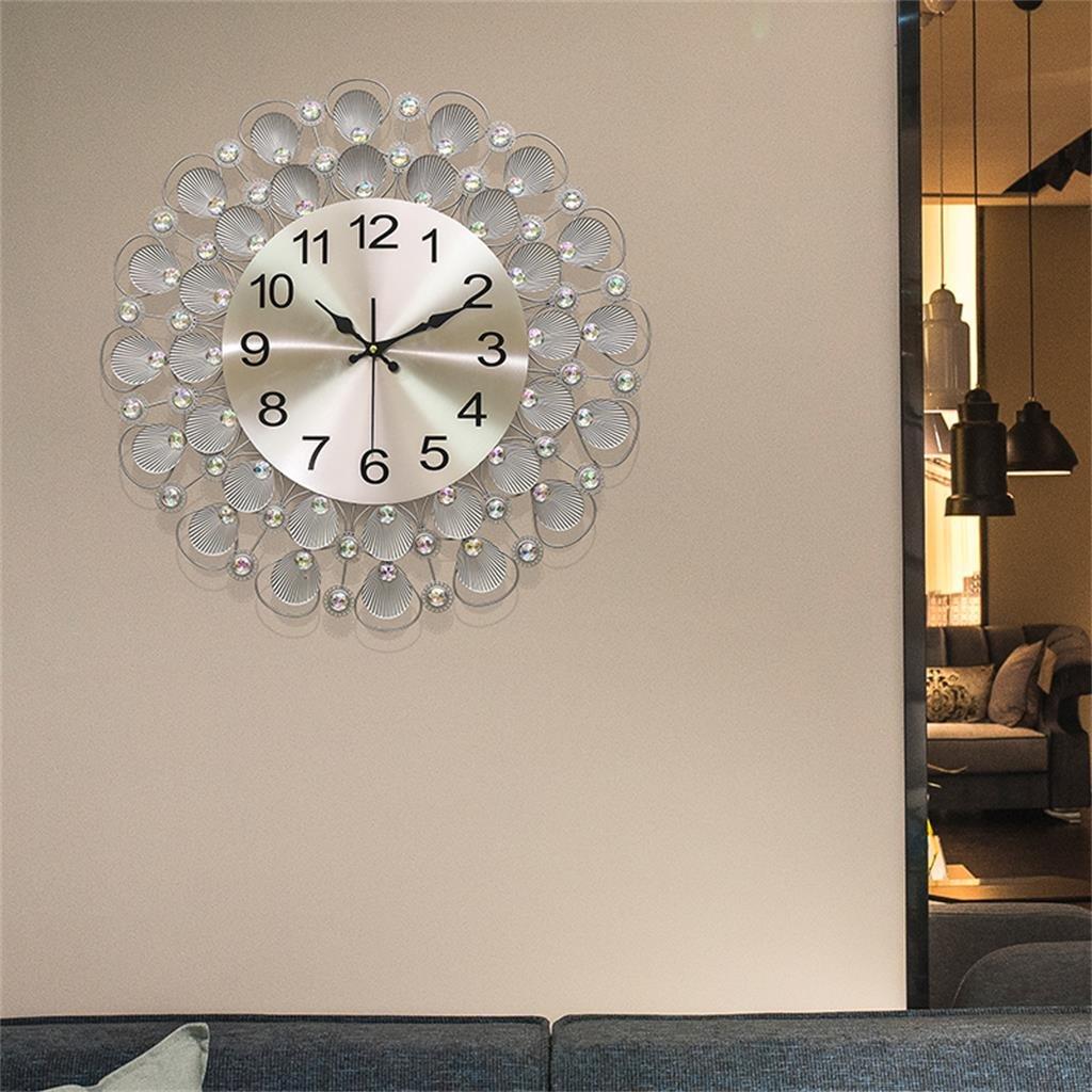 シルバーモダンなリビングルームパーソナリティシェルシンプルな創造的な壁時計ミュート B07D1Q8ZYD