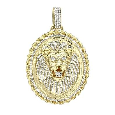 Mens medallion 14k rose white or yellow gold real diamond lions mens medallion 14k rose white or yellow gold real diamond lions head pendant 1ctw aloadofball Choice Image