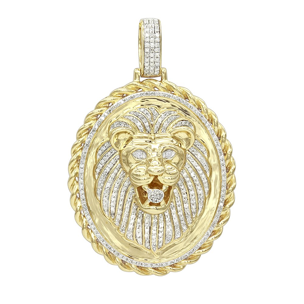 Men's Medallion 14K Rose, White or Yellow Gold Real Diamond Lions Head Pendant 1ctw (Yellow Gold)