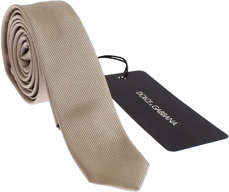 Dolce & Gabbana – Corbata de cuello fino, de seda, color dorado ...