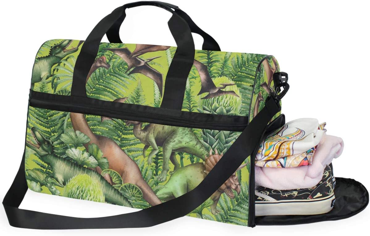 Dinosaur Pattern Sports Gym Bag with Shoes Compartment Travel Duffel Bag for Men and Women