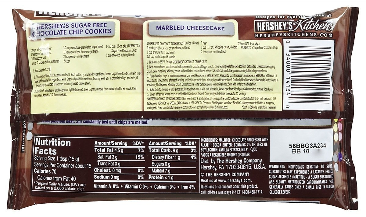 Amazon.com : Hersheyu0027s Sugar Free Semi Sweet Baking Chips   8 Oz   2 Pk :  Grocery U0026 Gourmet Food