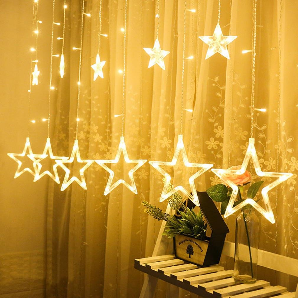 Rambling 12 Stars 138 LED Curtain String Lights, Window Curtain Lights Decoration for Christmas, Wedding, Party, Home, Patio Lawn (Yellow)