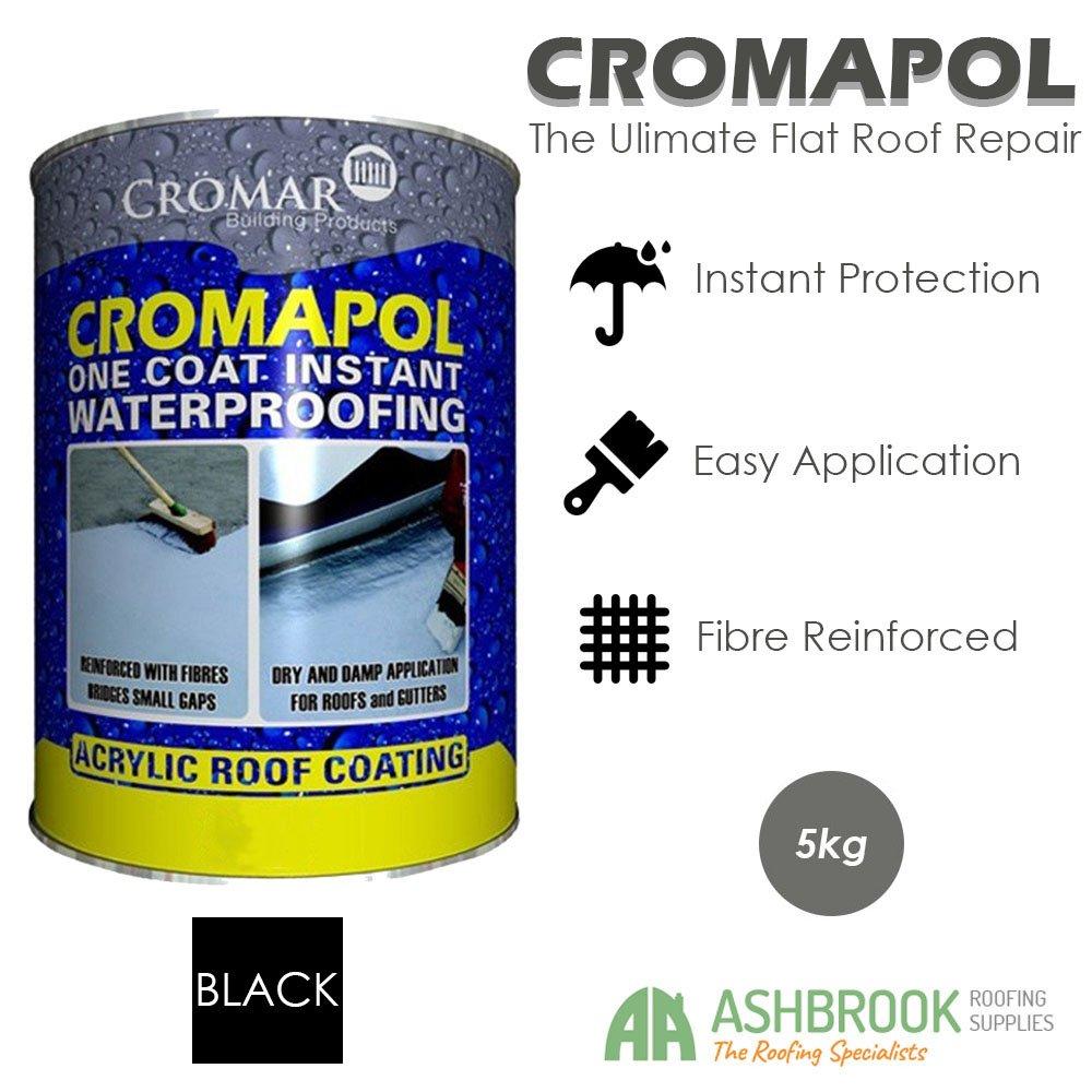 Cromapol Waterproof Roof Sealant - Black (5KG) Crompol