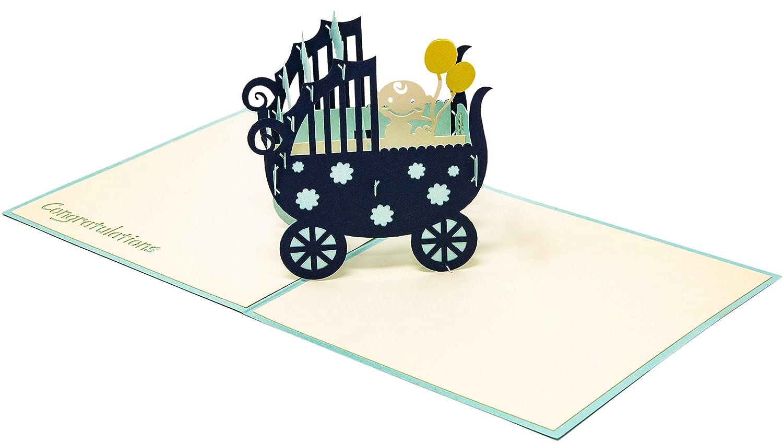 Con un passeggino 3D e beb/è Biglietto di auguri Pop Up per bambine per nascita turchese biglietto di compleanno per neonati