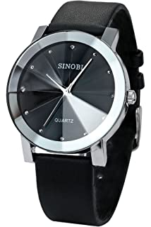 Findtime Mens Nice Slim Black Leather Quartz Wrist Watches