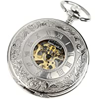 Infantry Silver Tone Skeleton Mechanical Pocket Watch Hand Wind Roman Numerals Classic Engravable with Chain