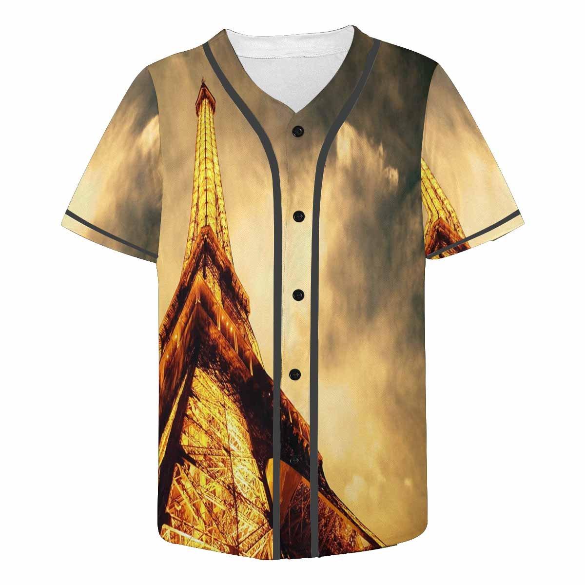 INTERESTPRINT Mens Button Down Baseball Jersey Night Eiffel Tower