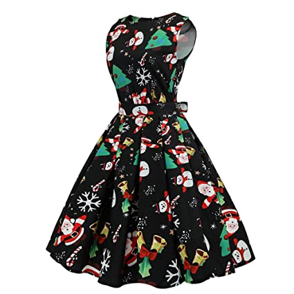Cebbay Navidad Faldas Mujer Vestido de Cuello Redondo Estampado Vintage Fiesta de Faldas largas Vestido de Navidad Novia de la Moda de Las Mujeres ...