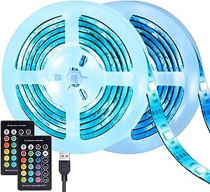 TV Led Backlights USB Led Strip Lights 6.56ft 2Pack RGB Bias Lighting for HDTV Color Changing USB Behind TV Lights Strip Waterproof Cuttable Remote Led Tape Lights for TV Background Lights