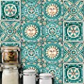 AmazingWall Italy Majolica Tiles Vintage Pattern Wall Sticker Living Room Bedroom Kitchen Bathroom Backsplash 5.91x5.91 10 Pcs