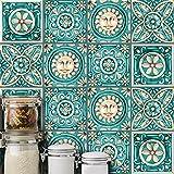 AmazingWall Italy Majolica Tiles Vintage Pattern Wall Sticker Living Room Bedroom Kitchen Bathroom Backsplash 5.91x5.91 10 Pcs
