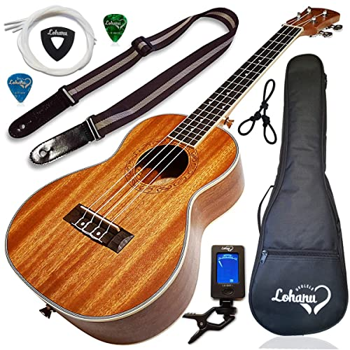 Ukulele Tenor Size Bundle From Lohanu (LU-T) 2 Strap Pins Installed FREE Uke Strap Case Tuner Picks Hanger Aquila Strings Installed Free Video Lessons