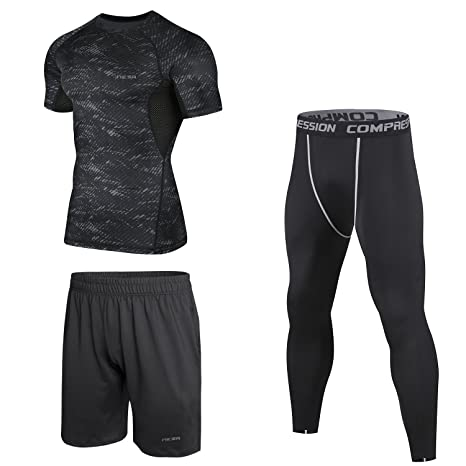 Amazon.com   Niksa 3 Pcs Men s Workout Clothes Set with Compression ... 134e22954e5f0