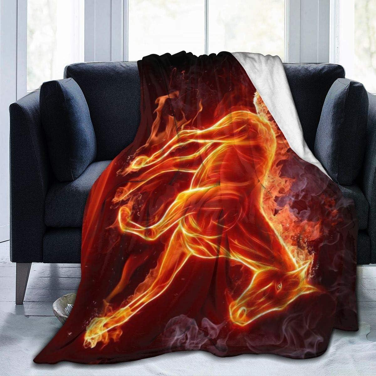 Annays Blanket Caballo De Fuego Manta Cálida Súper Suave Acogedora 102X127Cm Manta De Lana Ligera Cama para Sala De Estar Dormitorio Toda La Temporada