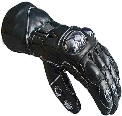 newfacelook Negro Cuero Motorist Moto Impermeable Guantes