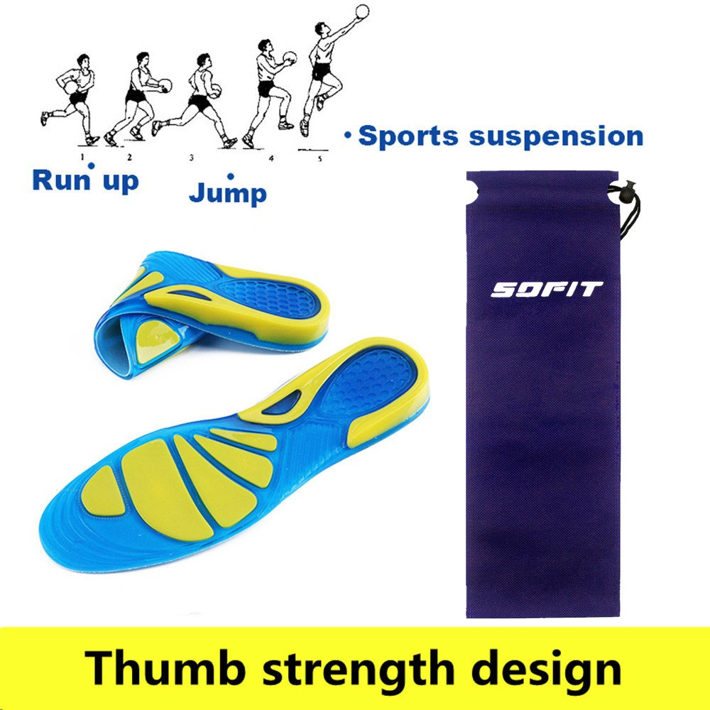Heel Protection Cuttable Insoles for Shock Absorption SOFIT Sport Comfort Gel Insoles Thick Adjustable Soft Massaging Silicone Sole Orthotic Arch Support Shock Sports for Walking /& Running