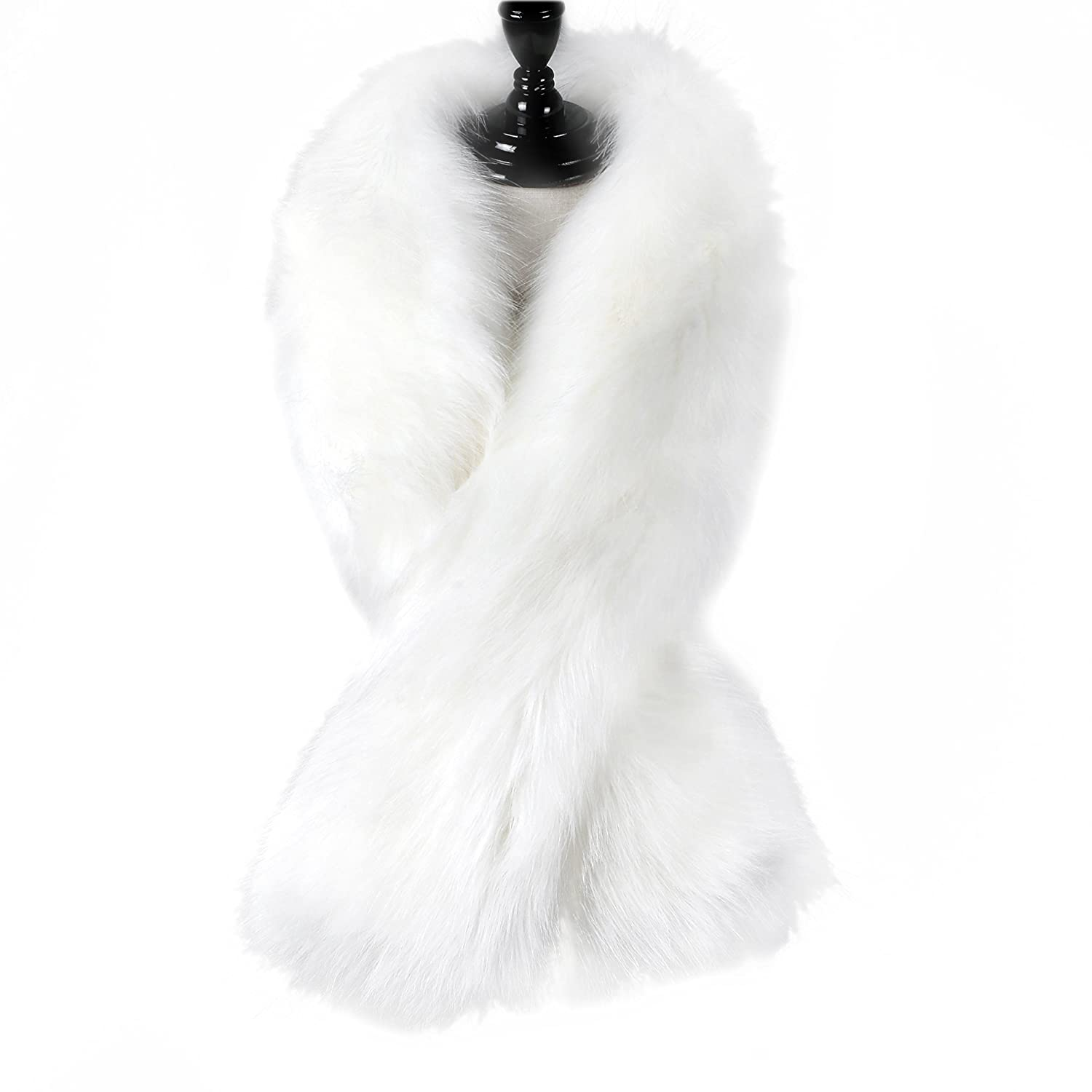 Caracilia Women Winter Warm Faux Fox Fur Collar Scarf Stole Long Scarf Shawl CA97-hei--125cm