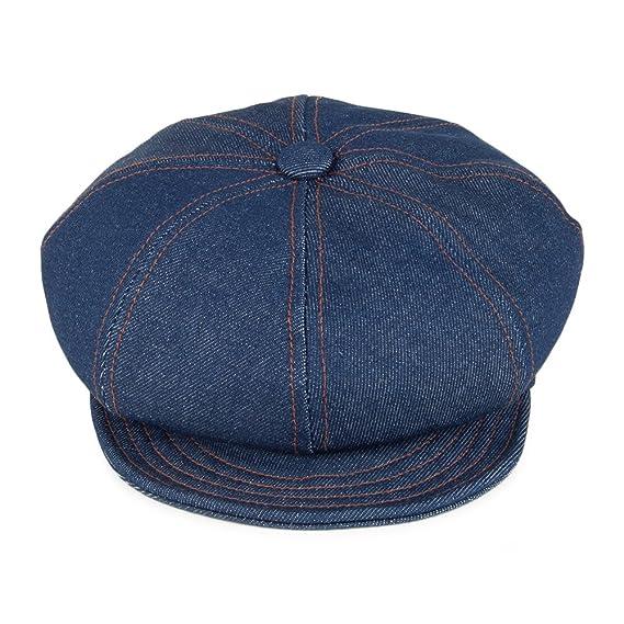 b4c6dbb4e38 New York Hat Co. Denim Stitch Baker Boy Cap - Denim LARGE  Amazon.co.uk   Clothing