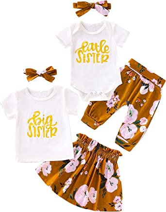 Aslaylme Big Sister Little Sister Matching Outfits Floral Pant Clothes Set Clothing