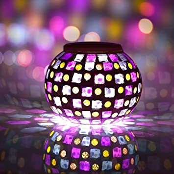 Solar powered mosaic solar lights led magic sunshine amazon solar powered mosaic solar lights led magic sunshine ball colour changing lovely night lights party lights mozeypictures Image collections