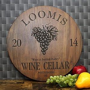 "Personalized 15"" Hardwood Wine Cellar Sign - Custom Engraved Walnut, Maple, Sapele Housewarming, Wedding, Wine Lover Gift. #305"