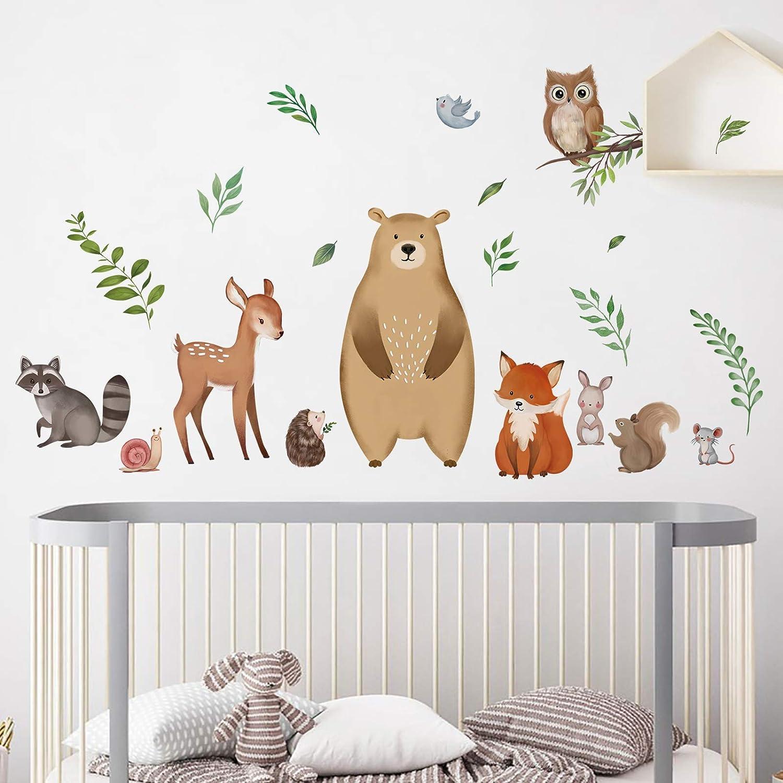 decalmile Woodland Animals Wall Decals Bear Fox Deer Wall Stickers Baby Nursery Kids Bedroom Playroom Wall Decor