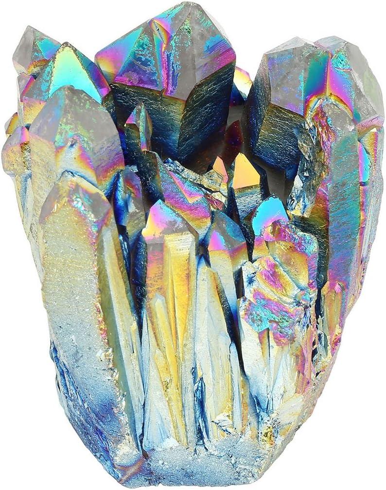 CrystalTears - Piedra Preciosa de Cuarzo Natural con Revestimiento de Titanio, con Caja de 1,85 – 2,5 Pulgadas, decoración del hogar (arcoíris)