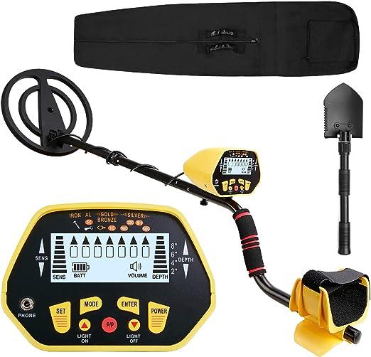 CANWAY Detector de Metal función Pinpoint, detección Profesional de Alta precisión de Oro de 3 pies de Profundidad Plus Shovel/Pickaxe y Bolsas.: Amazon.es: Jardín