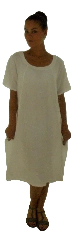 Mein Design Lagenlook de Mallorca Damen Kleid HE900 Leinen Tunika Ballonkleid Plus Size Tasche Kurzarm Used Look Gr. 40, 42, 44, 46, tragbar