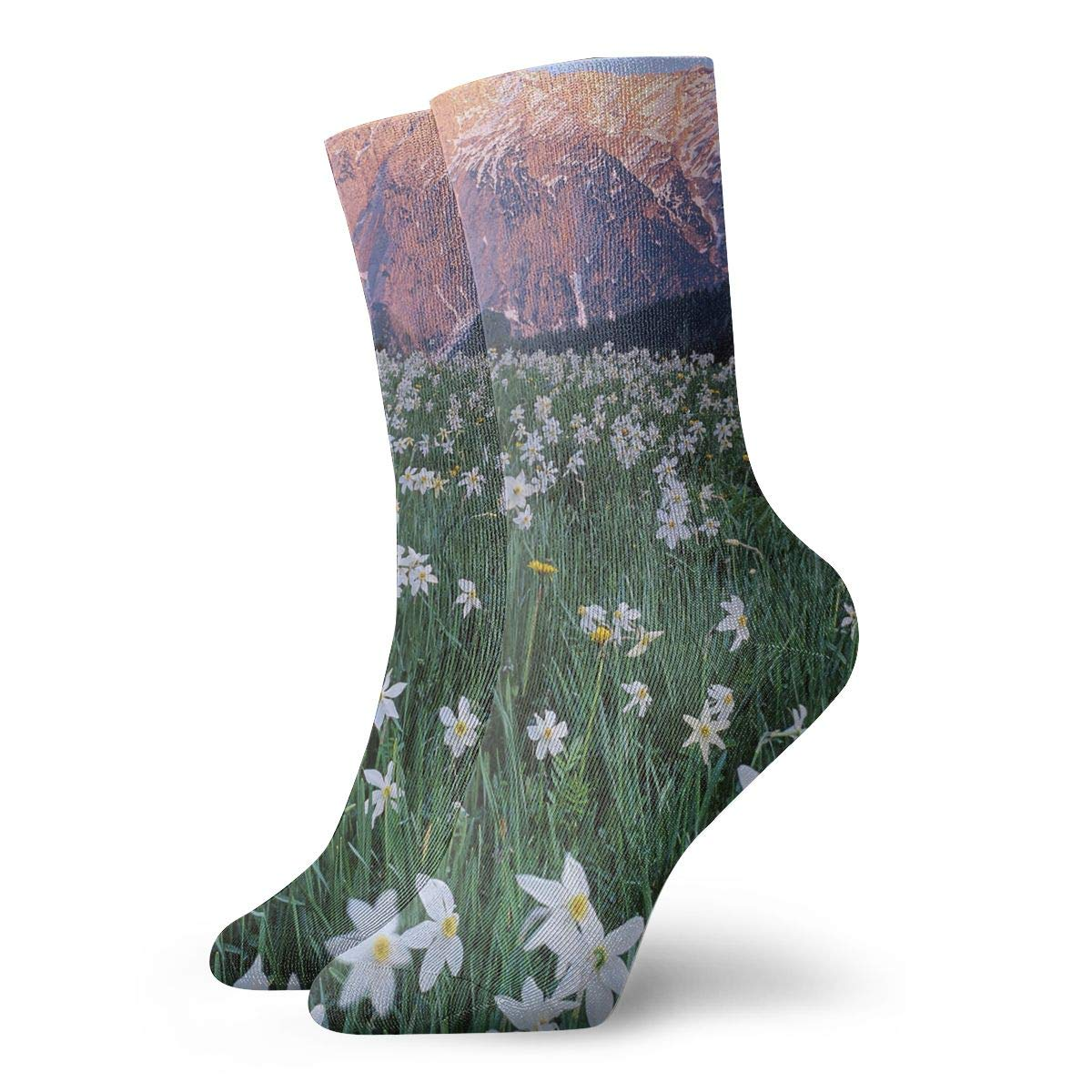 WEEDKEYCAT White Flowers Grass Field Adult Short Socks Cotton Funny Socks for Mens Womens Yoga Hiking Cycling Running Soccer Sports