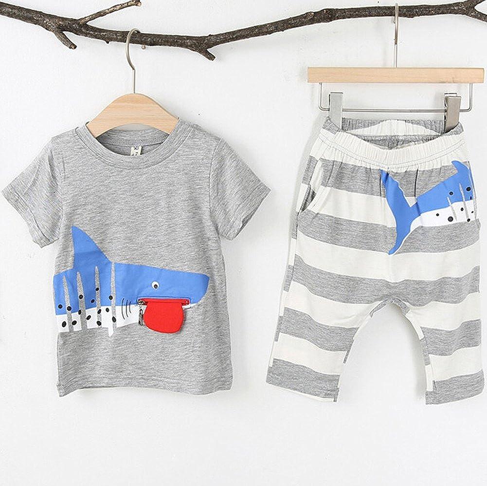 Linggo Boys Funy Shark Summer Short Sleeve T-Shirt Set?Toddler//Little Kid