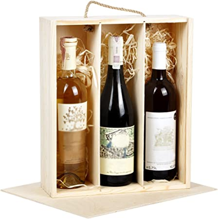 BARTU - Caja de regalo de madera para botellas de vino (3 botellas): Amazon.es: Hogar