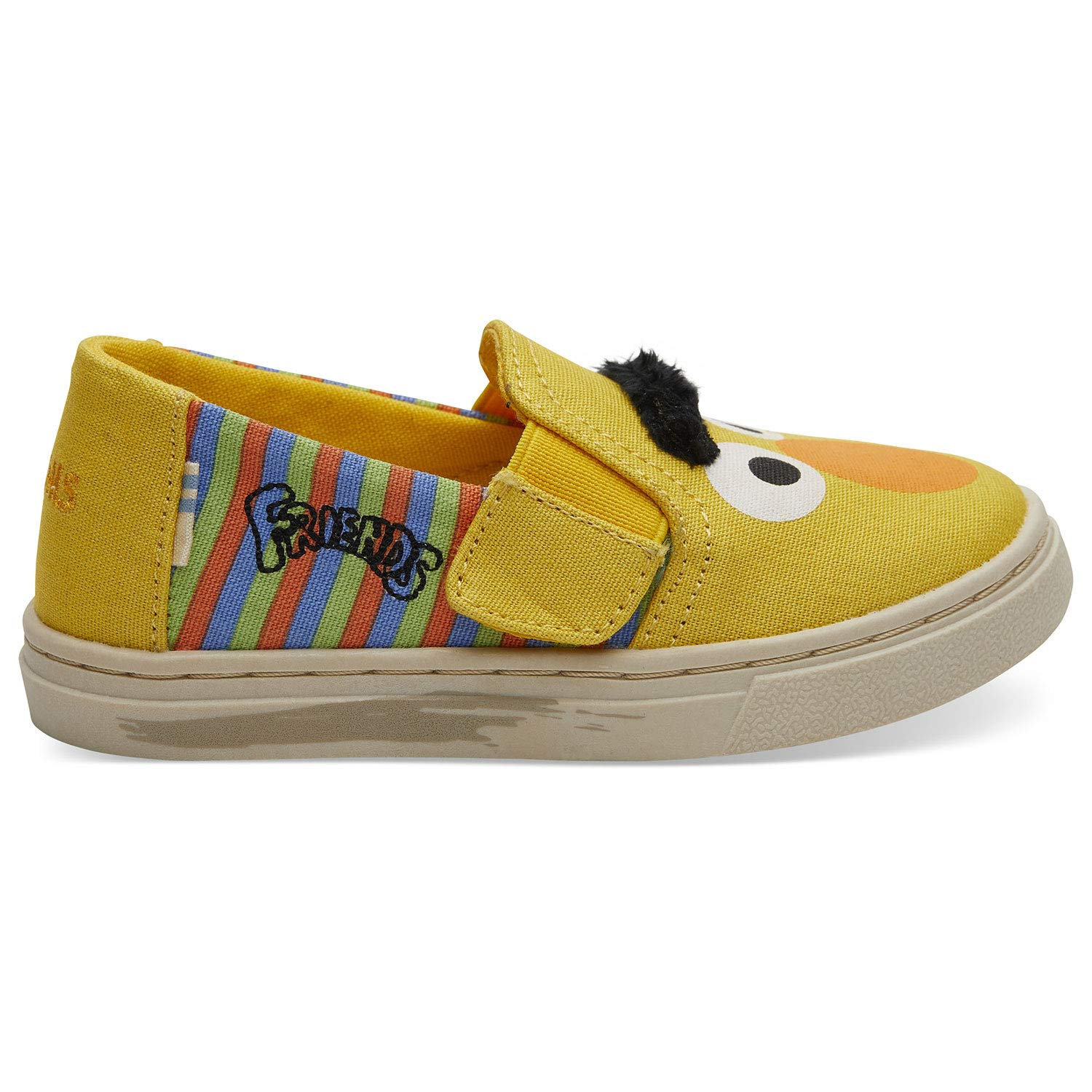 TOMS Sesame Street X Bert and Ernie Face Tiny Luca Slip-Ons 10013641 (Size: 6) Yellow