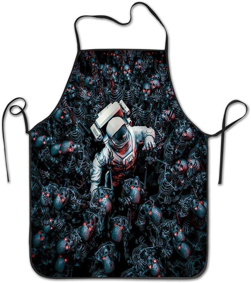 Not Applicable Astronauta de Cintura rodeado de una Horda de Robots Delantal de Esqueletos de Zombis Delantal de Babero casero para Mujeres Hombres Niña Niños Regalos Cocina Decoración Cocina