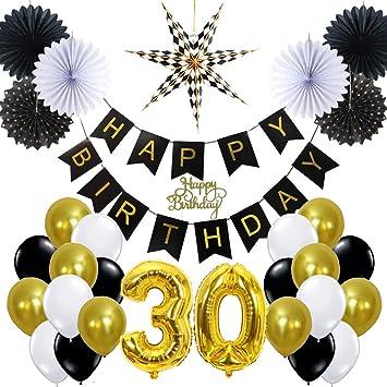 Easy Joy Anniversaire 30 Ans Decoration Noir Et Or Happy Birthday
