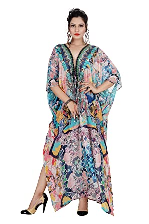 Lace Up Kaftan Dress Kaftan Printed With Artistic Patterns