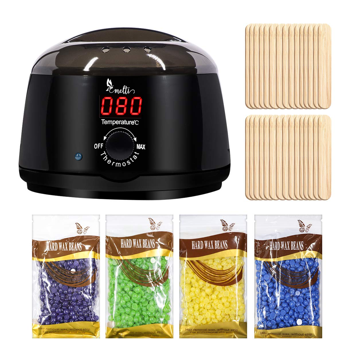 Easy Melt Hair Removal Waxing Kit with Celsius Digital Temperature Display Electric Hot Wax Warmer monitoring, Hard Wax pearls and Wax Applicator Sticks Ltd.