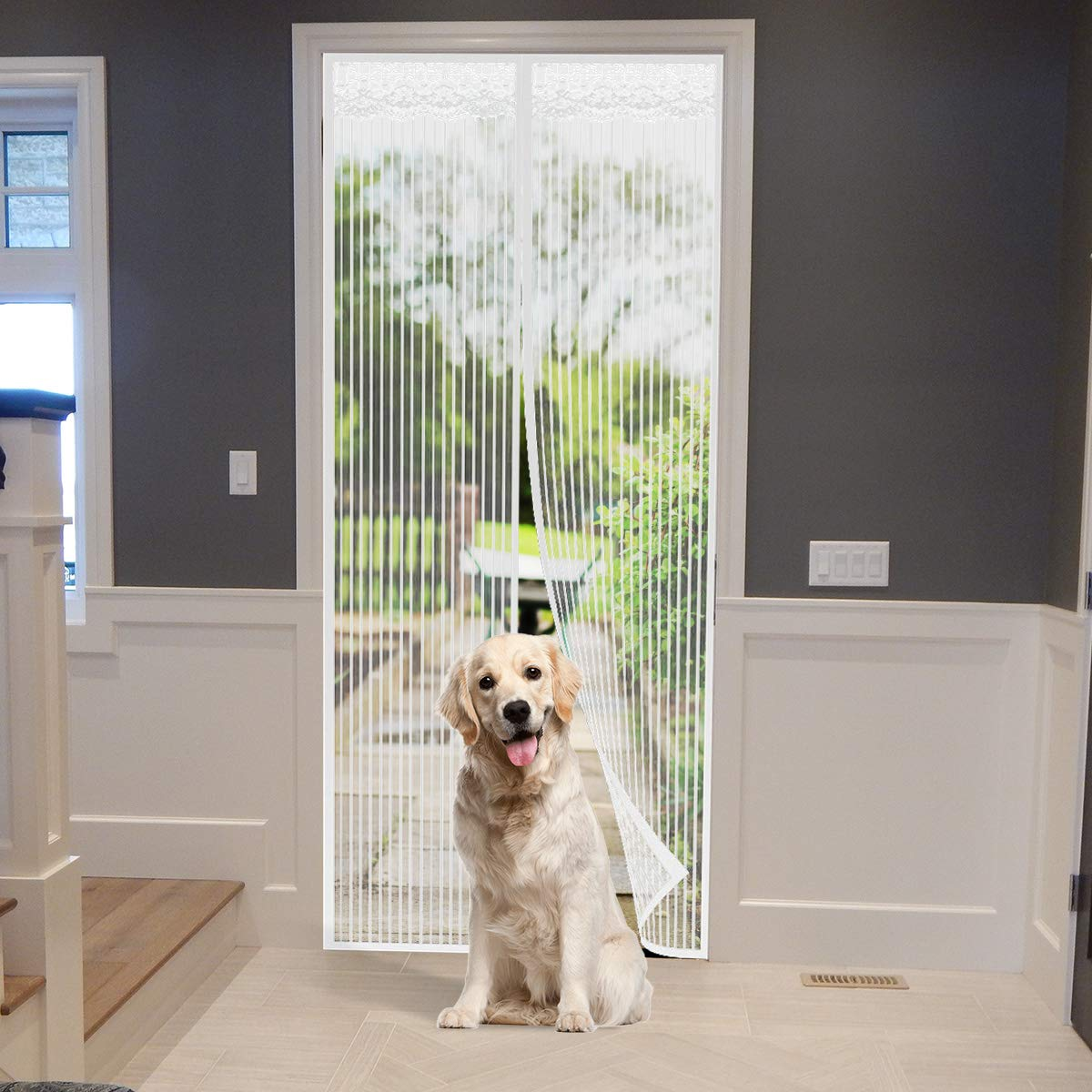 XIAO MO GU Magnetic Screen Door Keep Away from Insects & Mosquito Curtain, Top-to-Bottom Seal Automatically, Suitable for Exterior Back Doors, Front Doors, Pet Screen Door, Living Room Children's Room ( Black 90x210cm )