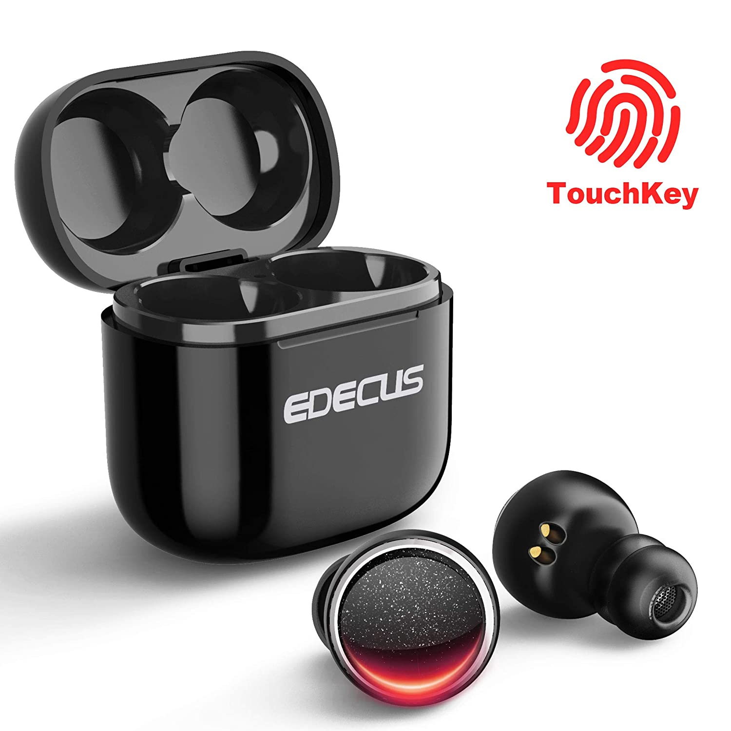 Wireless Earbuds, EDECUS TL2 Bluetooth 5.0 Wireless Earbuds with Touch Control, 25H Playtime, Hi-Fi Bass Stereo, Noise Cancelling, IPX5 Waterproof, Built-in Mic Bluetooth Headphones with Charging Case