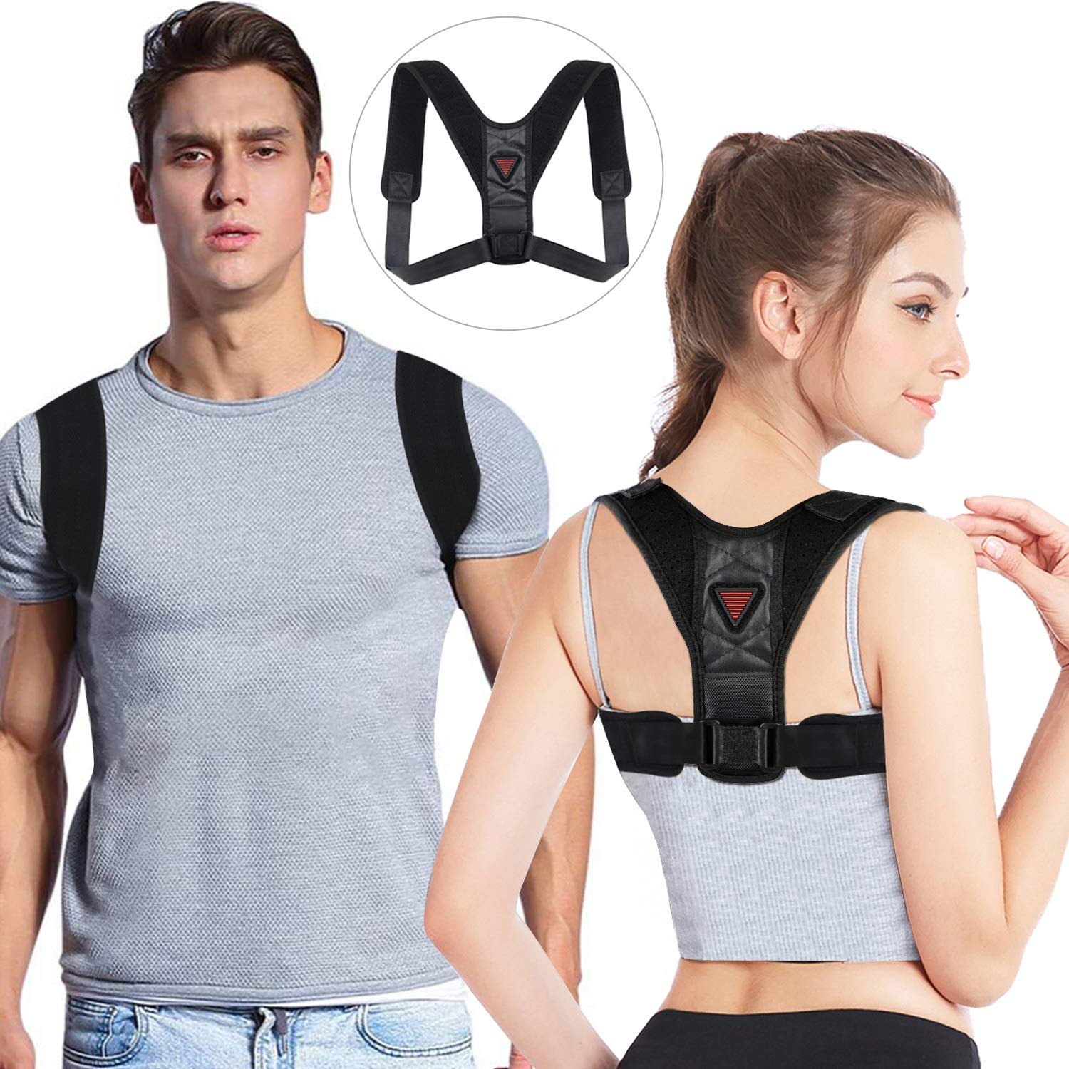 Posture Corrector for Men and Women, Upper Back Brace for Clavicle Support, Adjustable Back Straightener and Providing Pain Relief from Shoulder, Neck & Back-Black by ZOUYUE