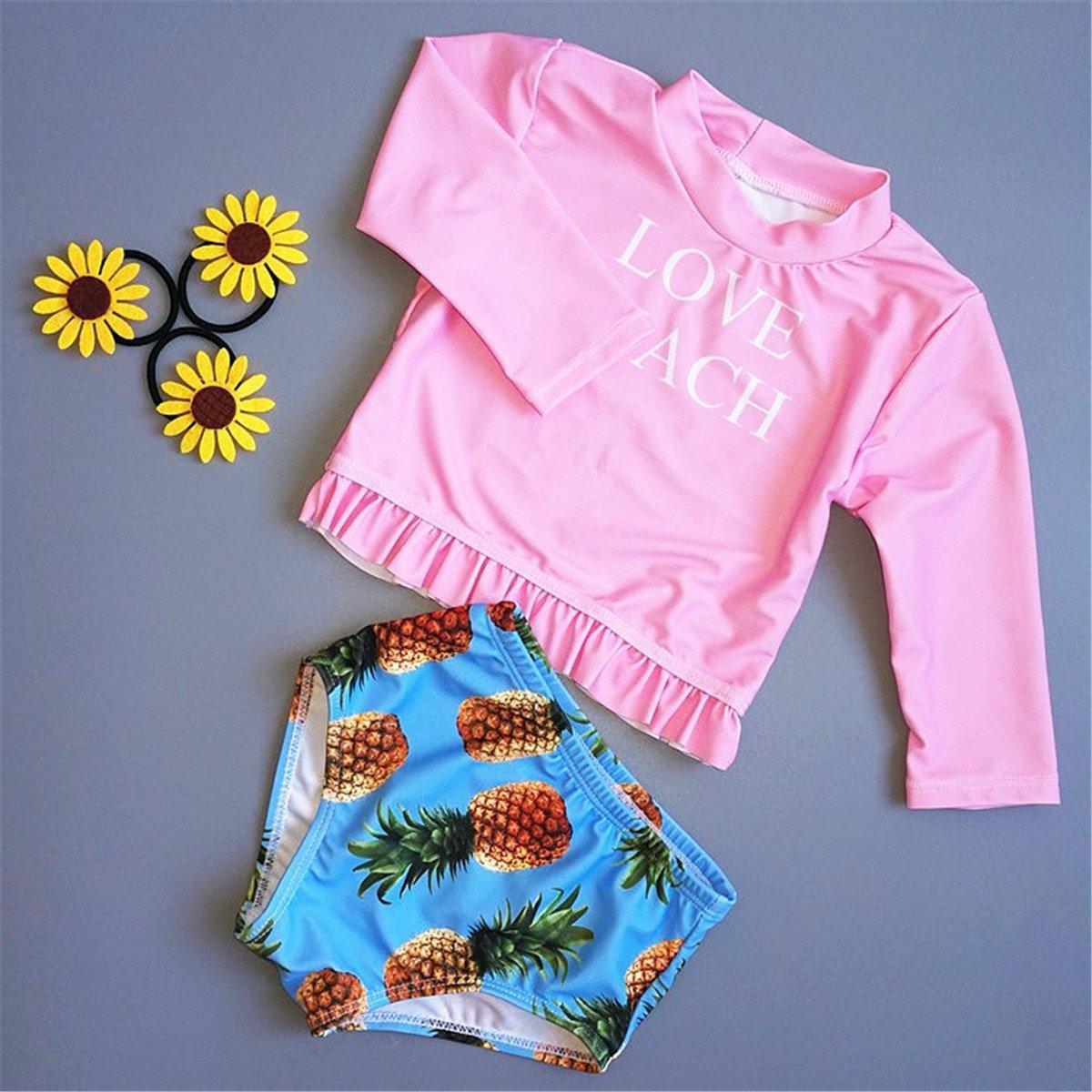 Baby Kids Girls Two Pieces Long Sleeve Sun Protection Pineapple Print Swimsuit UV Rash Guard Set 2-3 Years