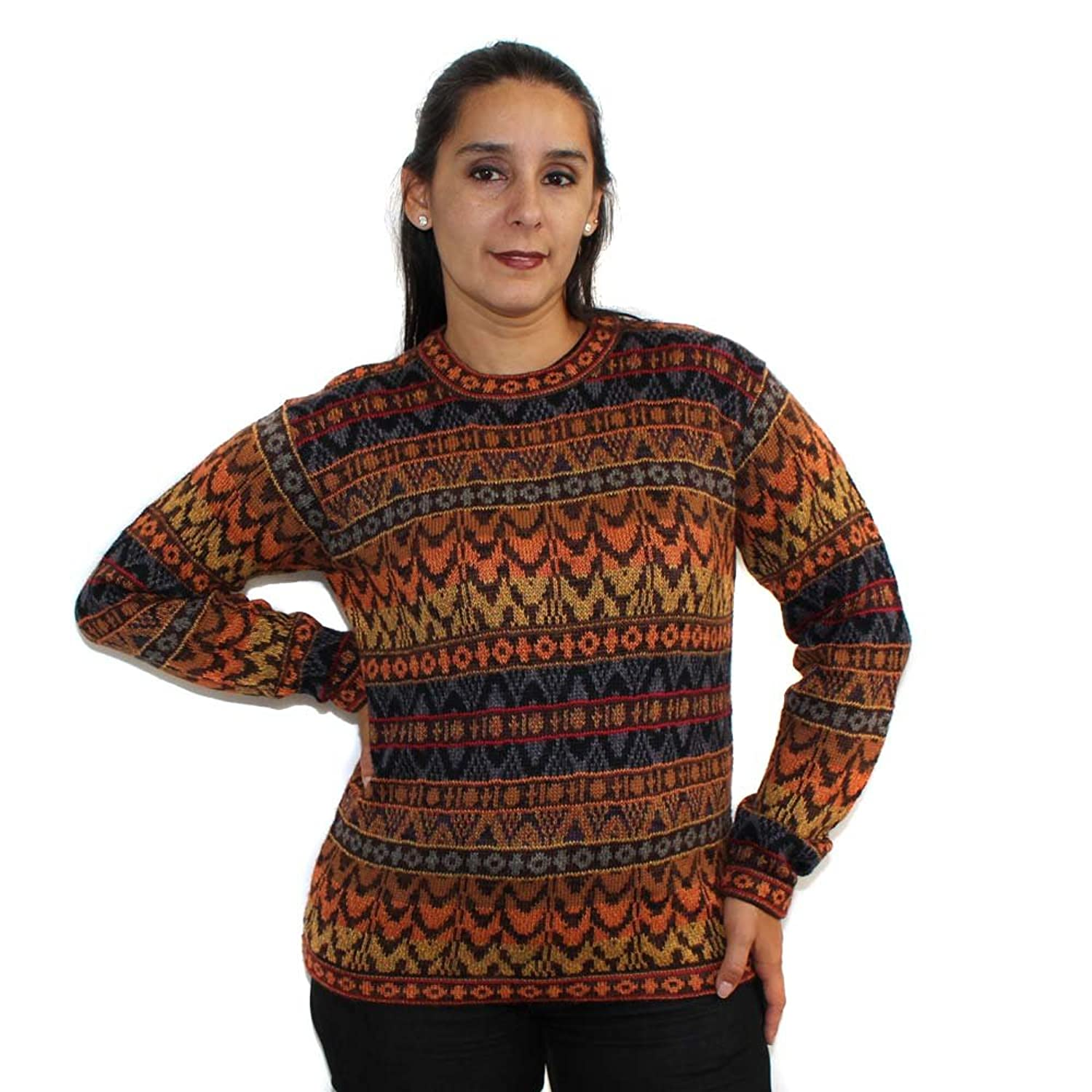 SWEATER Crew Neck jackard Baby Alpaca Made in PERU multicolor