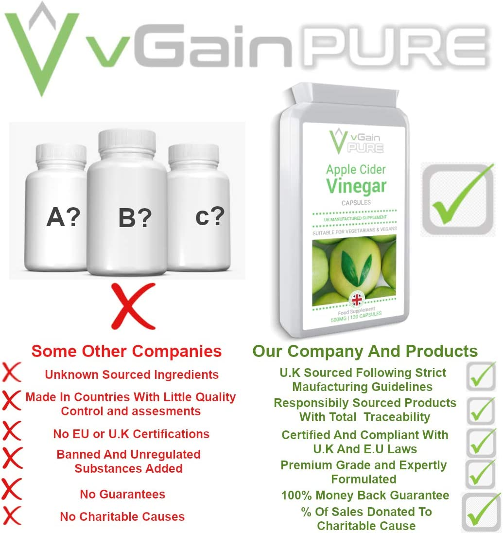 Apple Cider Vinegar Capsules by vGain PURE - Suitable For Vegans And Vegetarians - 120 Tablets - Non GMO-ACV Tablets For Appetite Suppressant-Fat Burner Weight Loss Detox Supplement For A Healthy Diet
