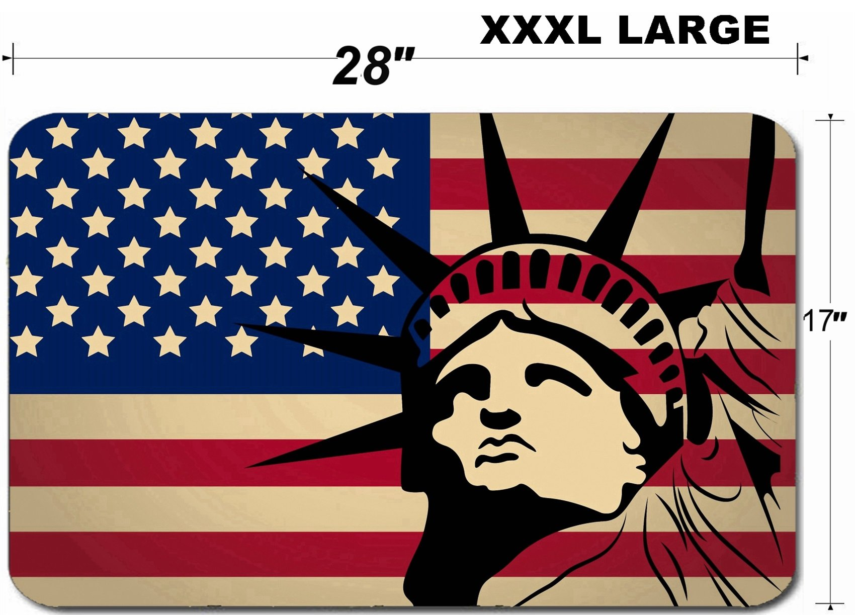 Liili Large Table Mat Non-Slip Natural Rubber Desk Pads the america flag with colors and silhouette of statue liberty Image ID 22898596