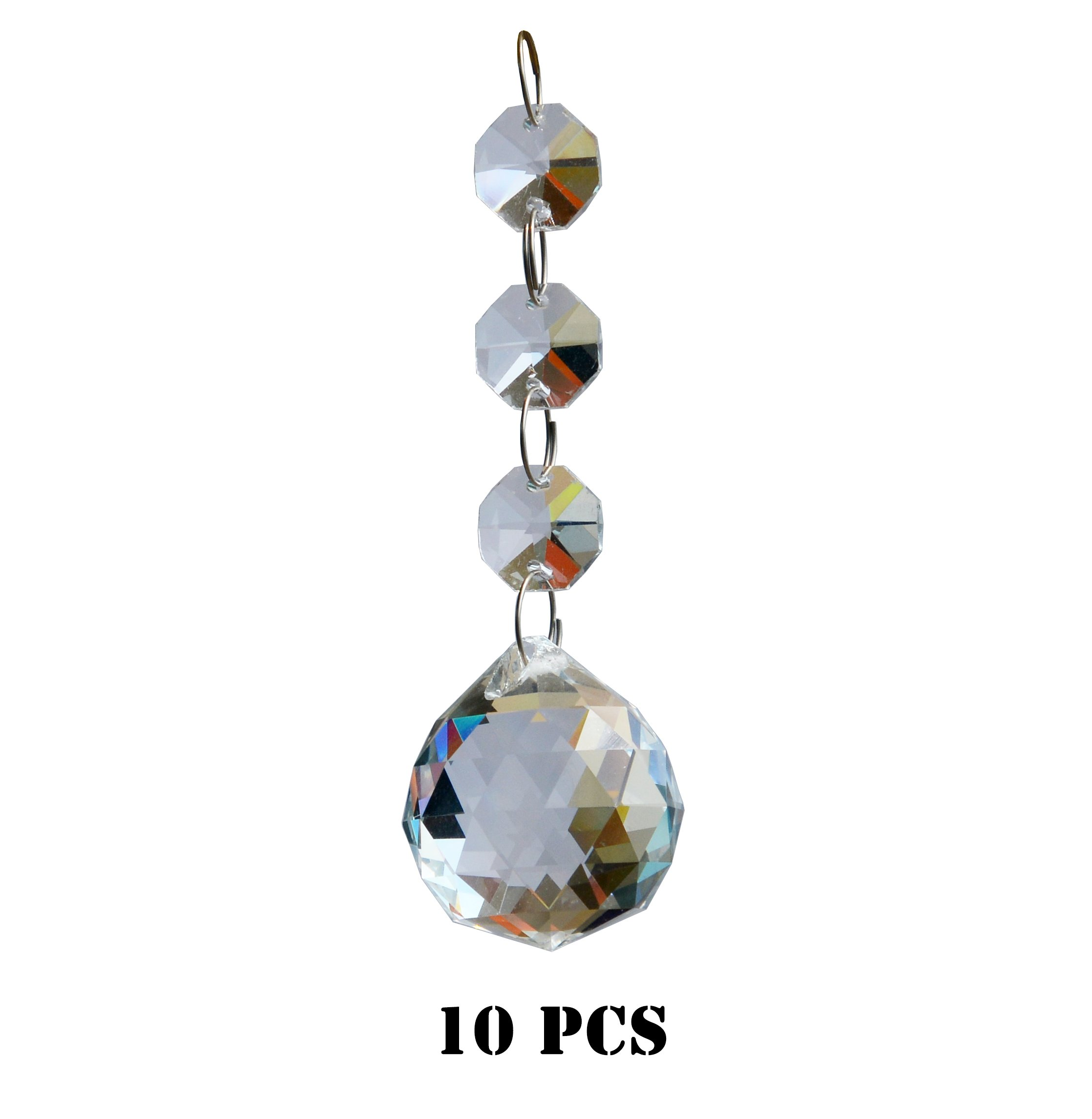 Crystal chandelier parts amazon moooni 10 pcs clear crystal ball chandelier prisms glass pendant beads suncatchers mozeypictures Images