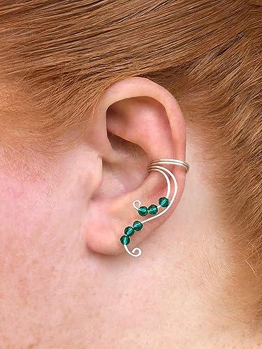Fantasy Inspired Fairy Ear Cuff Silver Earring For Non Pierced Elven Fake Cartilage Piercing