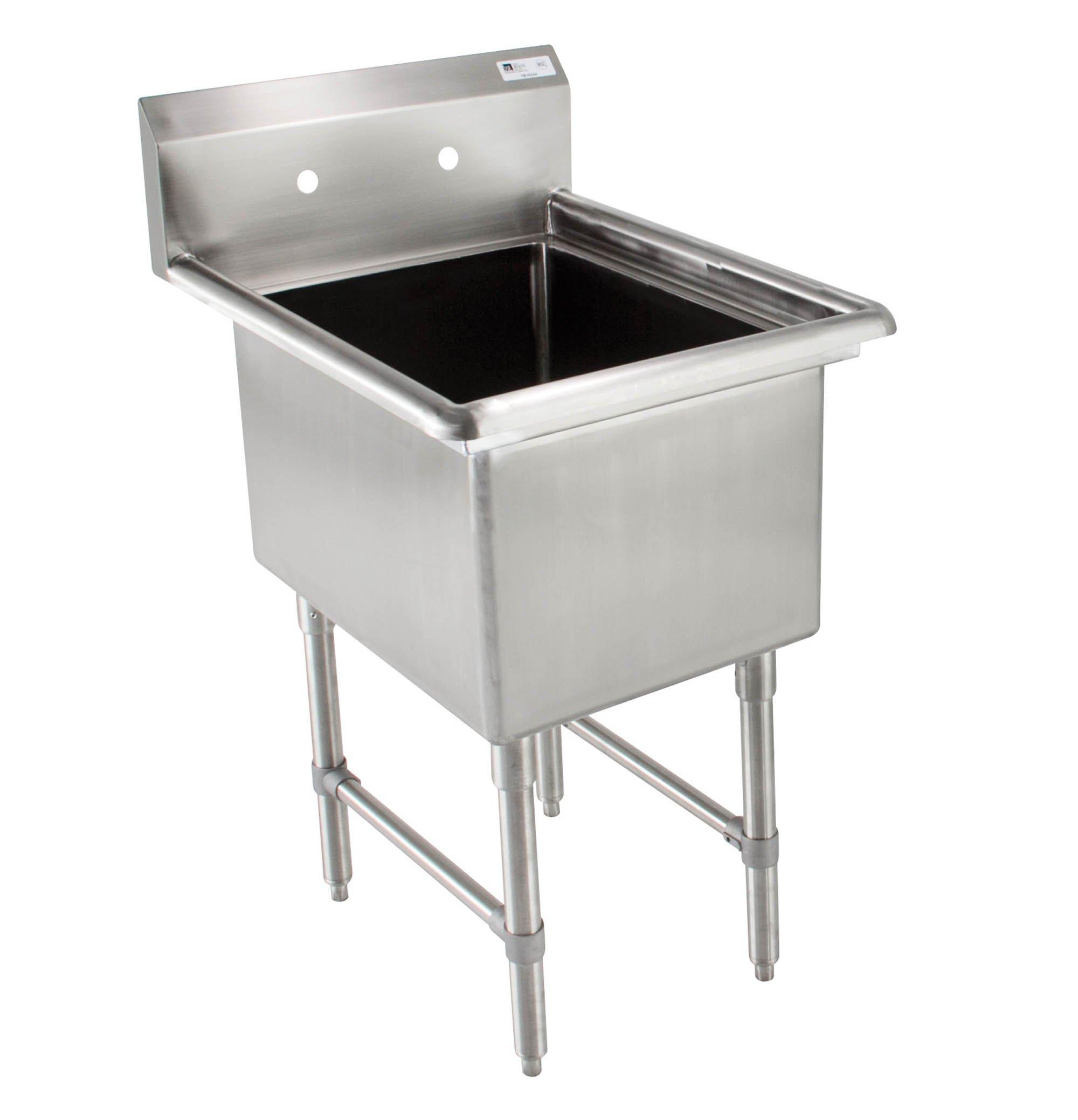 John Boos B Series Stainless Steel Sink, 14'' Deep Bowl, 1 Compartment, 21'' Length x 25-1/2'' Width
