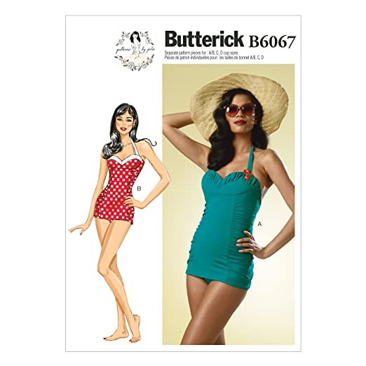 1950s Sewing Patterns | Swing and Wiggle Dresses, Skirts Butterick Patterns B6067 Misses Swimsuit Sewing Template Size A5 (6-8-10-12-14) $7.00 AT vintagedancer.com